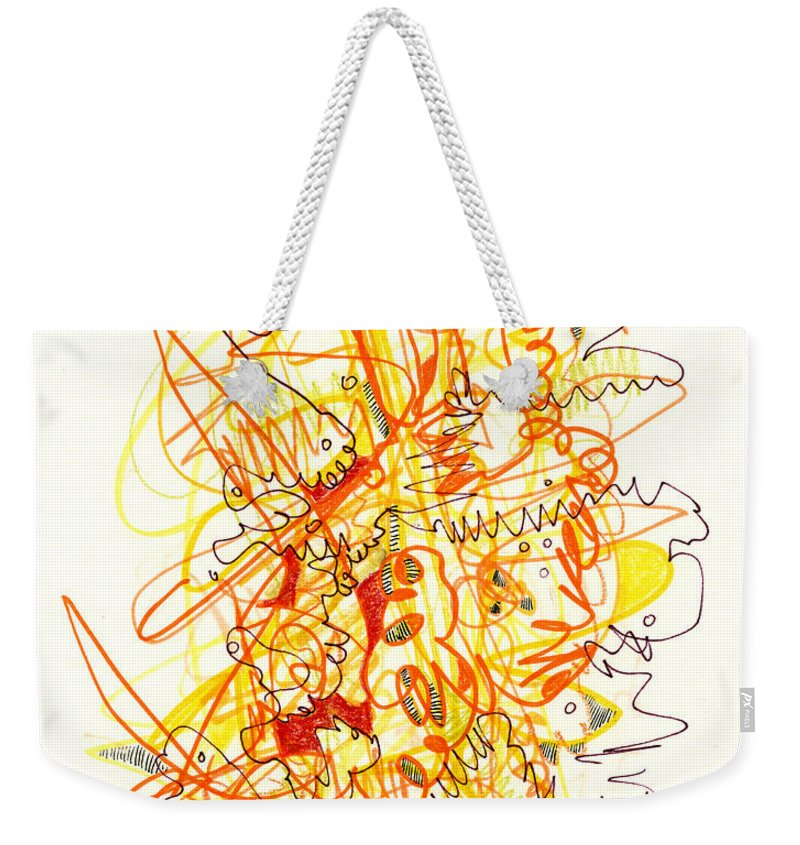 Abstract Weekender Tote Bag featuring the drawing Abstract Drawing Fifty-three by Lynne Taetzsch