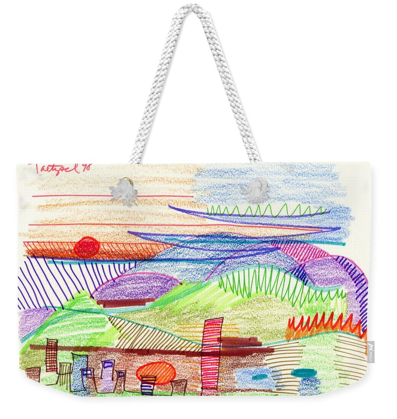 Abstract Weekender Tote Bag featuring the drawing Abstract Drawing Four by Lynne Taetzsch
