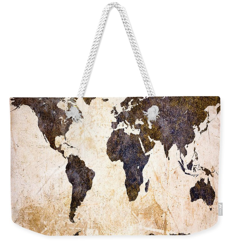 Map Weekender Tote Bag featuring the digital art Abstract Earth Map by Bob Orsillo