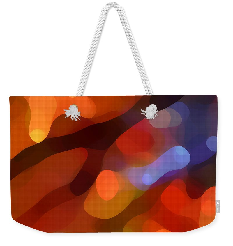 Abstract Art Weekender Tote Bag featuring the painting Abstract Fall Light by Amy Vangsgard