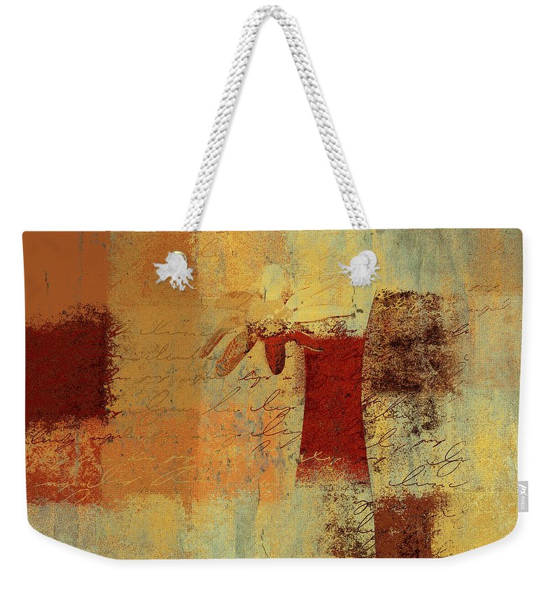 Yellow Weekender Tote Bag featuring the digital art Abstract Floral - 14v4i-t2b2 by Variance Collections