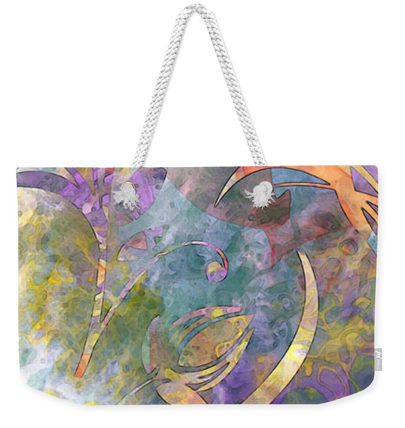 Design Weekender Tote Bag featuring the digital art Abstract Floral Designe - Panel 1 by Debbie Portwood