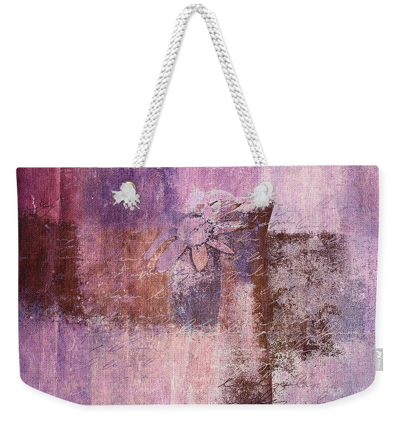 Pink Weekender Tote Bag featuring the digital art Abstract Floral- I55bt2 by Variance Collections