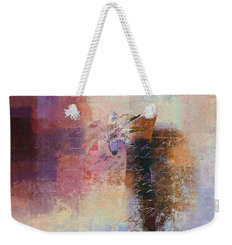 Brown Weekender Tote Bag featuring the digital art Abstract Floral - Xs01bt2 by Variance Collections