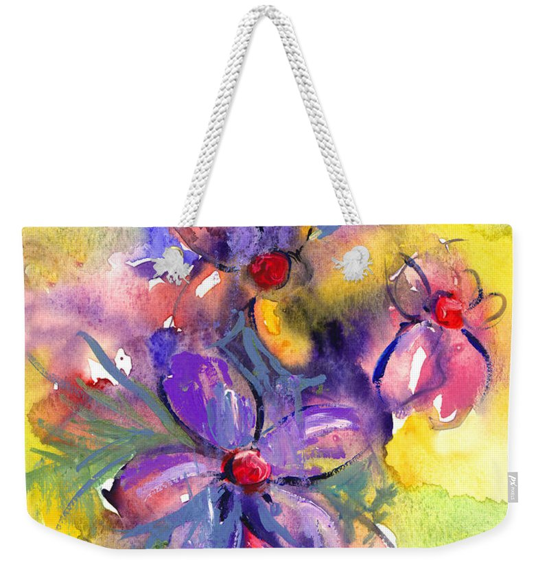 Abstract Watercolor Flowers Prints Weekender Tote Bag featuring the painting abstract Flower botanical watercolor painting print by Svetlana Novikova