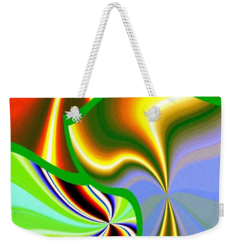 Abstract Fusion Weekender Tote Bag featuring the digital art Abstract Fusion 200 by Will Borden