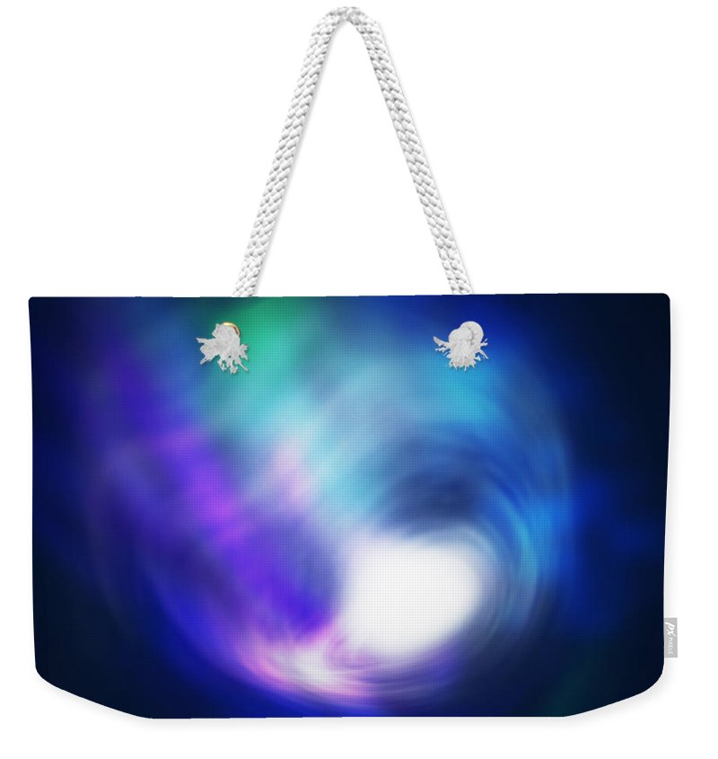 Abstract Weekender Tote Bag featuring the digital art Abstract Galaxy by Atiketta Sangasaeng