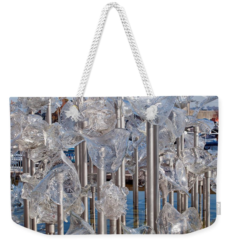Glass Museum Weekender Tote Bag featuring the photograph Abstract Glass Art Sculpture by Tikvah's Hope