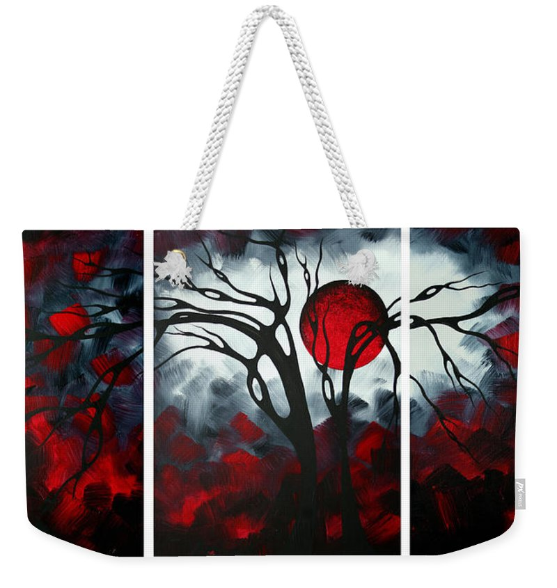 Abstract Weekender Tote Bag featuring the painting Abstract Gothic Art Original Landscape Painting Imagine By Madart by Megan Duncanson