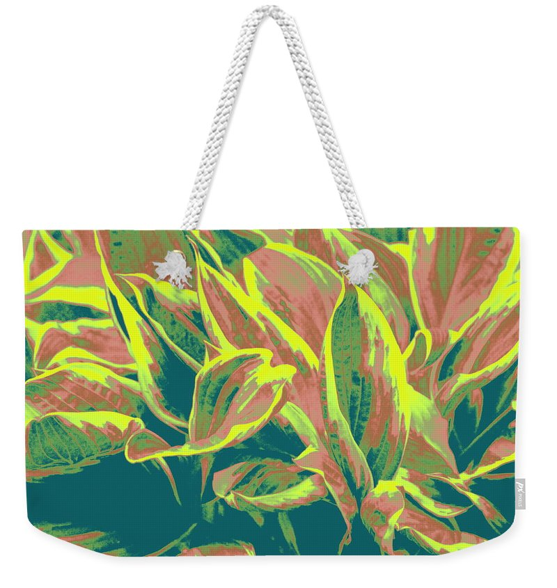 Hosta Weekender Tote Bag featuring the photograph Abstract - Hostatakeover by Deborah Crew-Johnson