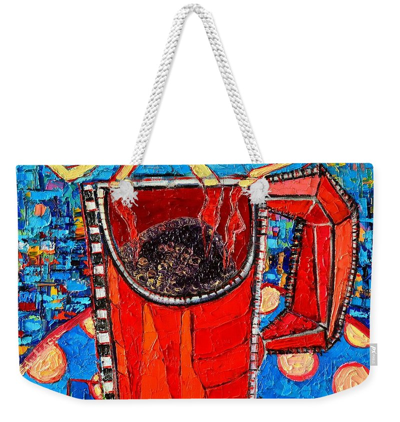 Coffee Weekender Tote Bag featuring the painting Abstract Hot Coffee In Red Mug by Ana Maria Edulescu