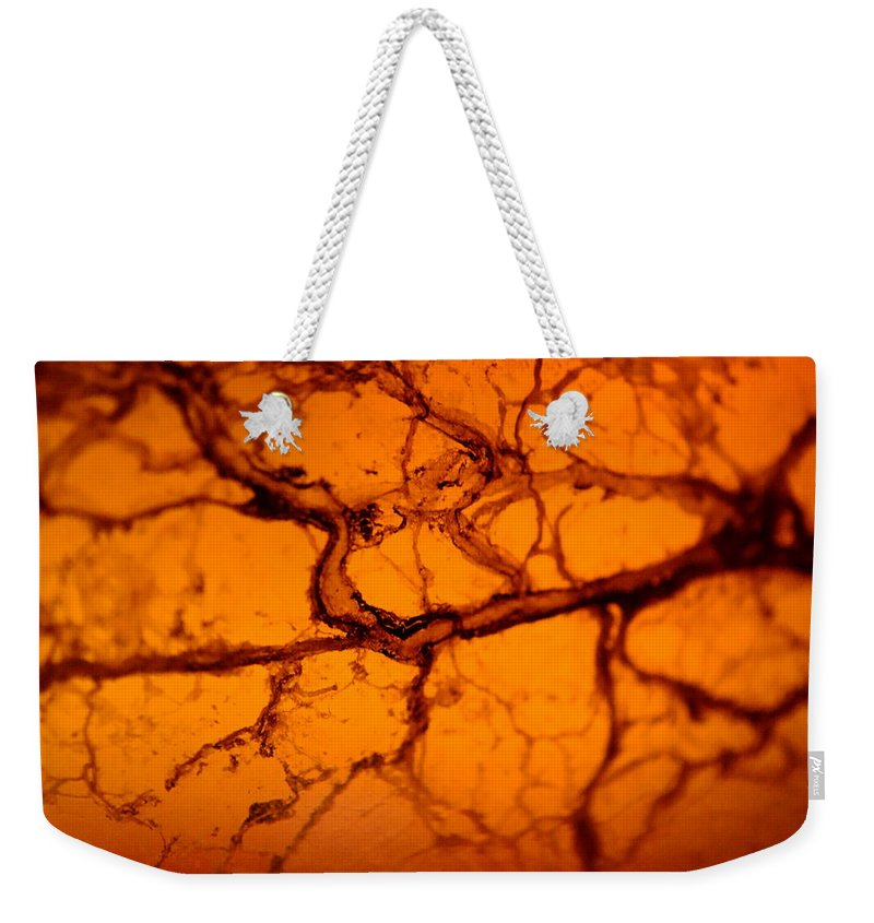 Amber Weekender Tote Bag featuring the photograph Abstract In Amber by Jon Woodhams