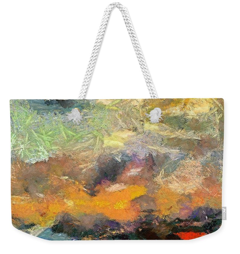 Abstract Art Weekender Tote Bag featuring the painting Abstract Landscape II by Dragica Micki Fortuna