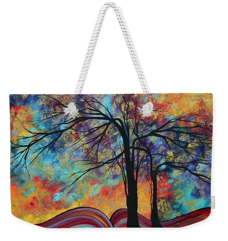 Abstract Weekender Tote Bag featuring the painting Abstract Landscape Tree Art Colorful Gold Textured Original Painting Colorful Inspiration By Madart by Megan Duncanson