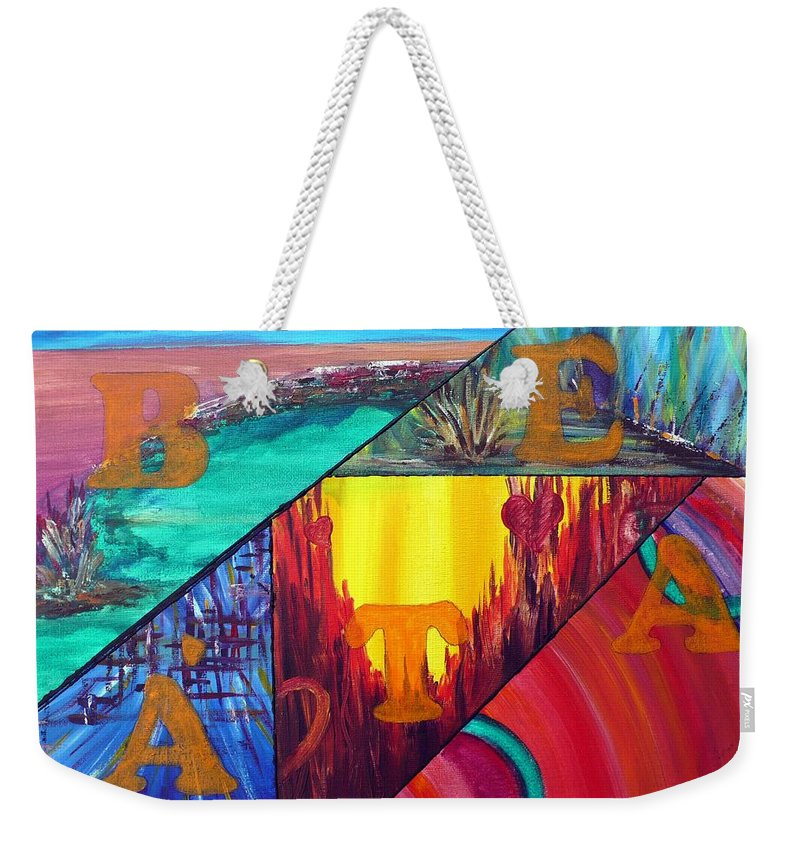 Landscape Weekender Tote Bag featuring the painting Abstract Landscapes by Anna Ruzsan