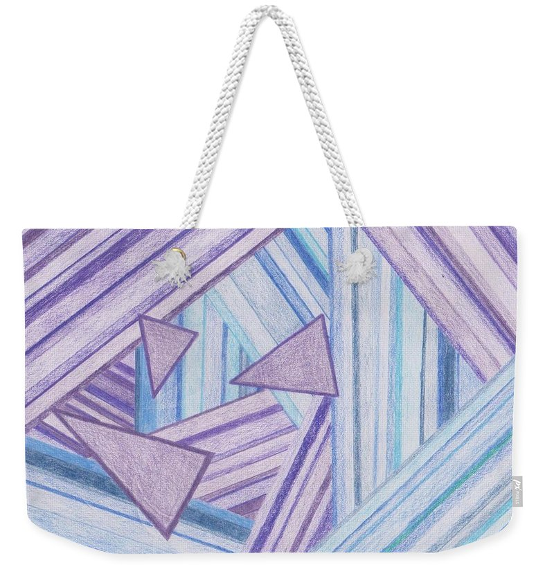 Triangles Weekender Tote Bag featuring the drawing Abstract Lines by Jill Christensen