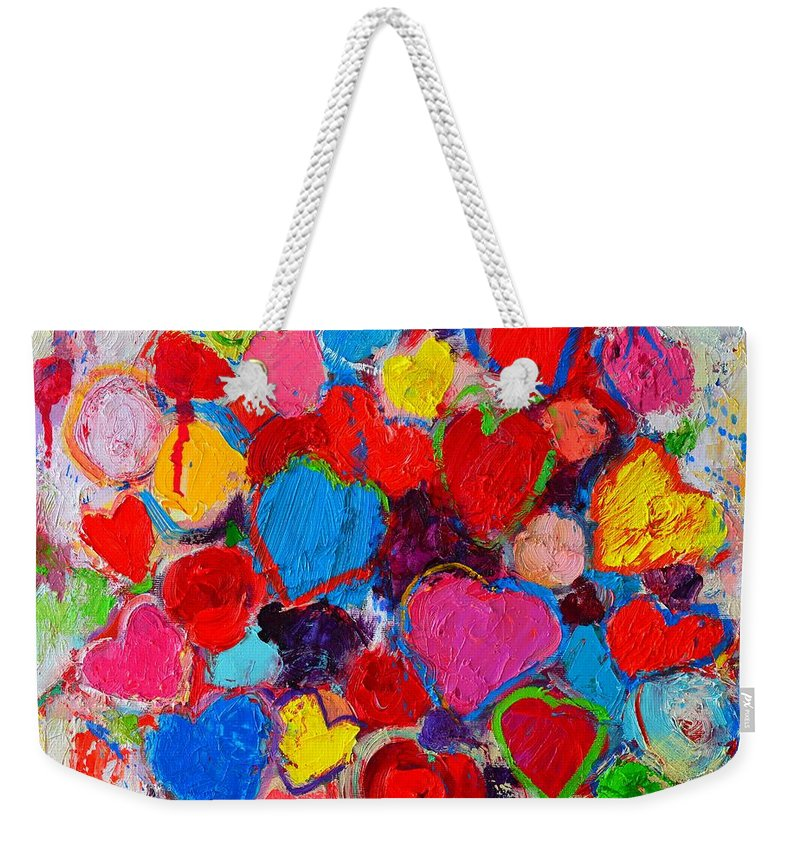 Hearts Weekender Tote Bag featuring the painting Abstract Love Bouquet Of Colorful Hearts And Flowers by Ana Maria Edulescu