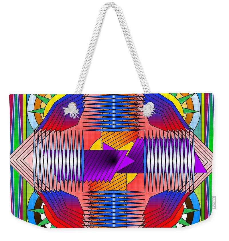 Mandala Weekender Tote Bag featuring the digital art Abstract Mandala by Mario Carini