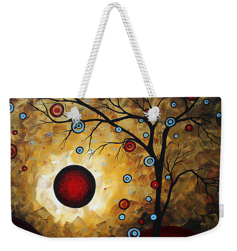 Painting Weekender Tote Bag featuring the painting Abstract Original Gold Textured Painting Frosted Gold By Madart by Megan Duncanson