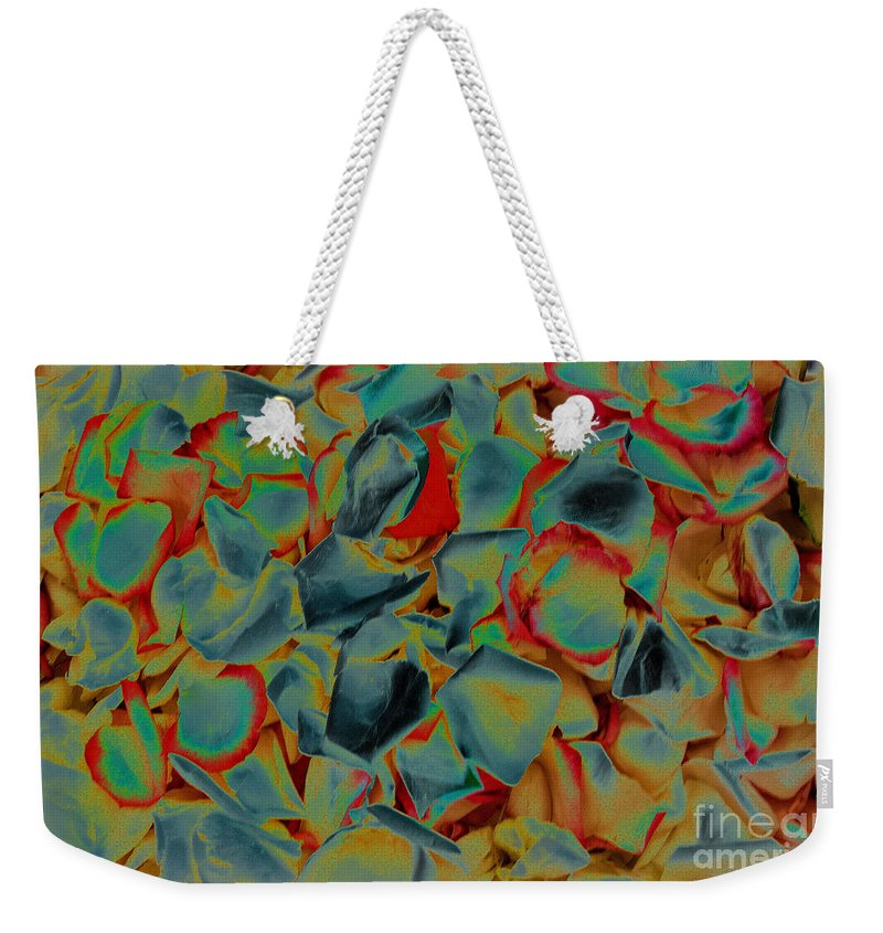 Abstract Petals Weekender Tote Bag featuring the photograph Abstract Rose Petals by Mae Wertz