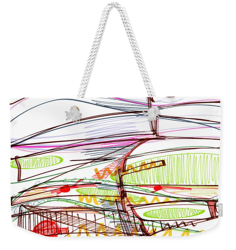 Abstract Weekender Tote Bag featuring the drawing Abstract Pen Drawing Forty-five by Lynne Taetzsch