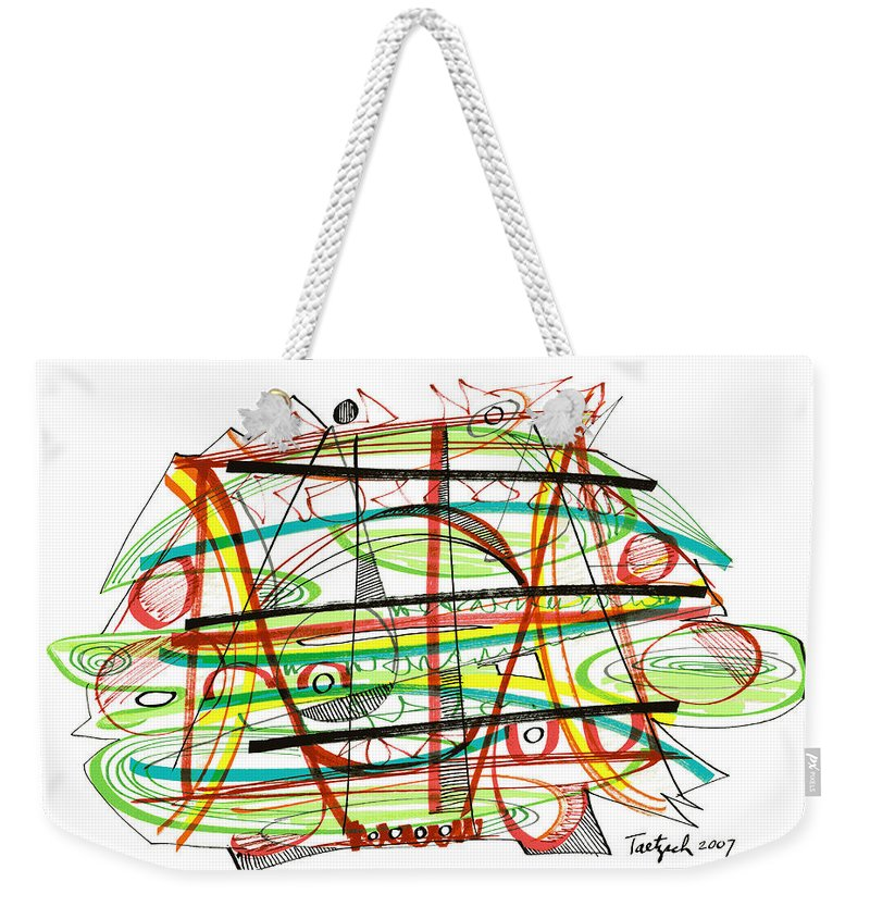 Abstract Weekender Tote Bag featuring the drawing Abstract Pen Drawing Forty-seven by Lynne Taetzsch