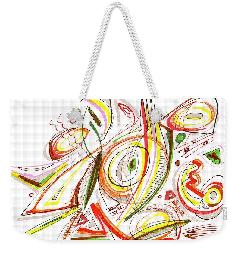 Abstract Weekender Tote Bag featuring the drawing Abstract Pen Drawing Forty-six by Lynne Taetzsch