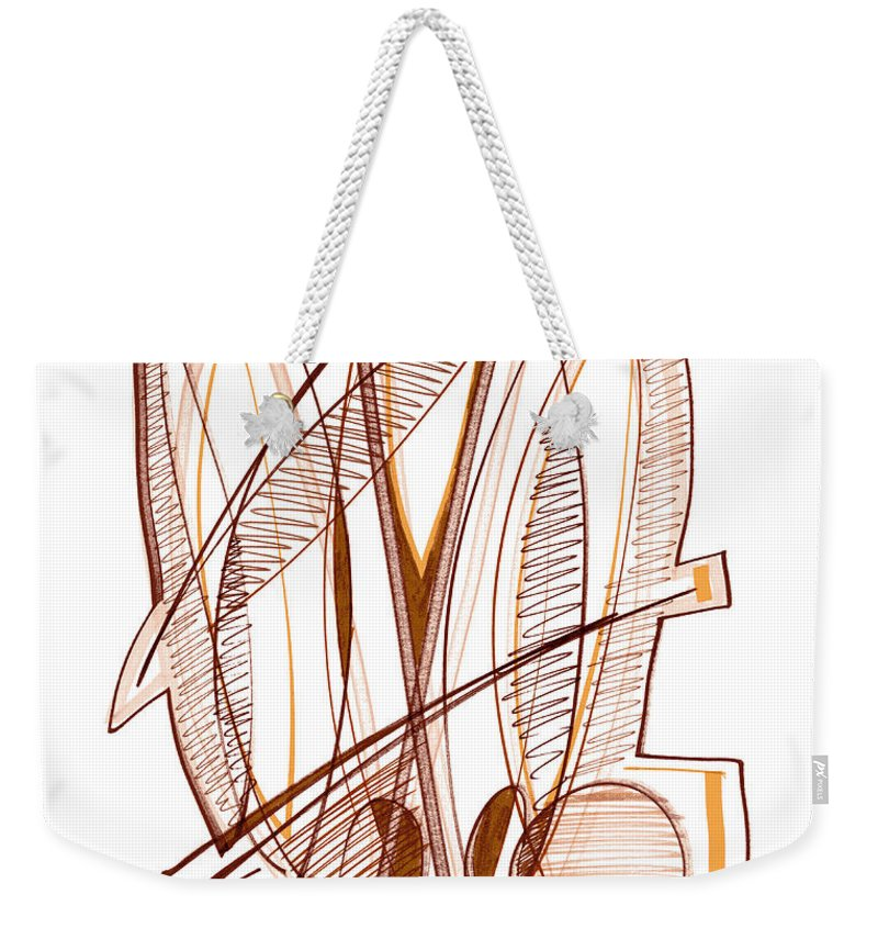 Abstract Weekender Tote Bag featuring the drawing Abstract Pen Drawing Sixty-four by Lynne Taetzsch