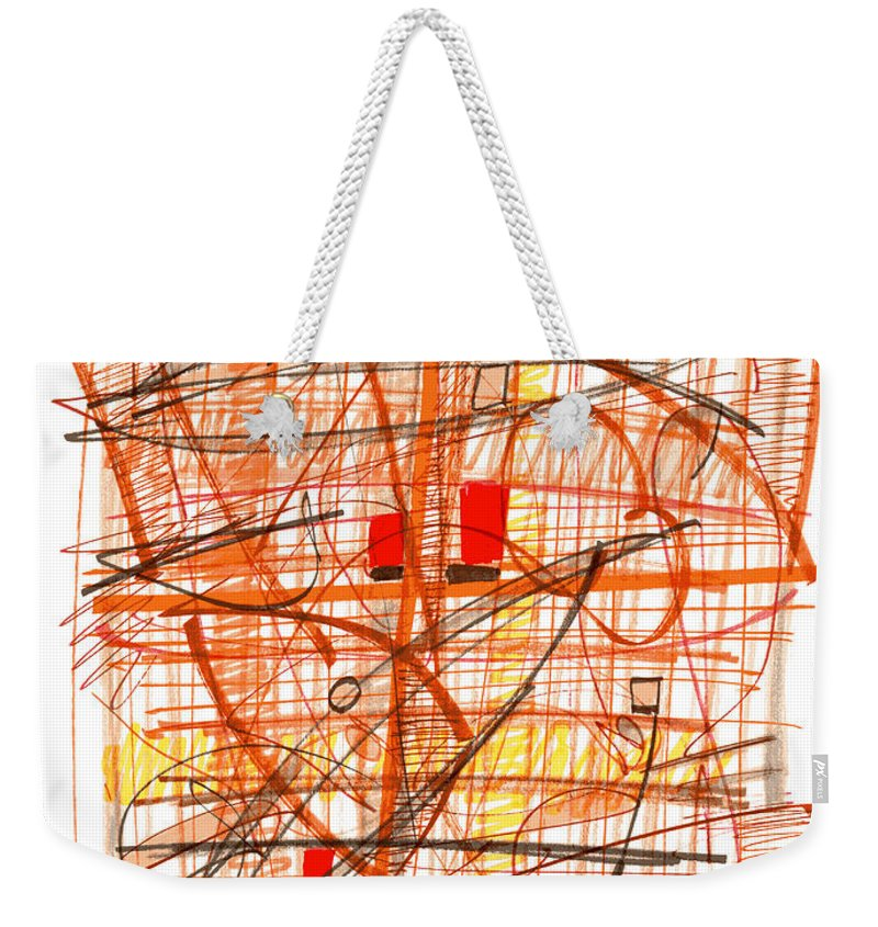 Abstract Weekender Tote Bag featuring the drawing Abstract Pen Drawing Sixty-one by Lynne Taetzsch