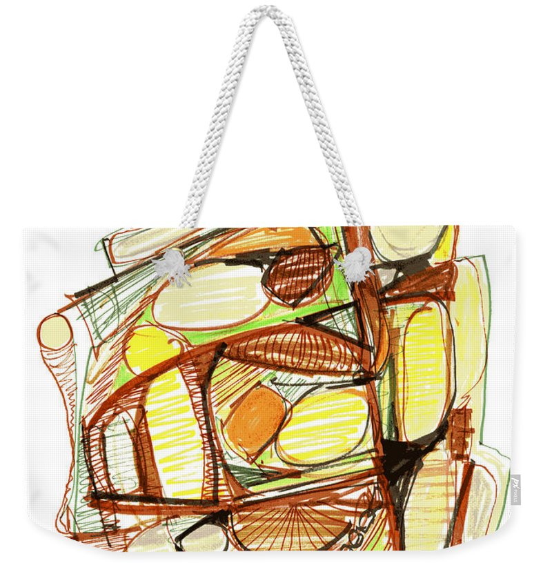Abstract Weekender Tote Bag featuring the drawing Abstract Pen Drawing Sixty-three by Lynne Taetzsch