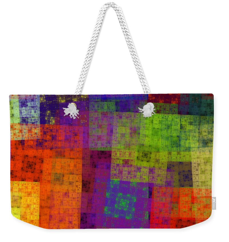 Andee Design Abstract Weekender Tote Bag featuring the digital art Abstract - Rainbow Bliss - Fractal - Square by Andee Design