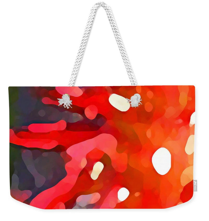 Bold Weekender Tote Bag featuring the painting Abstract Red Sun by Amy Vangsgard