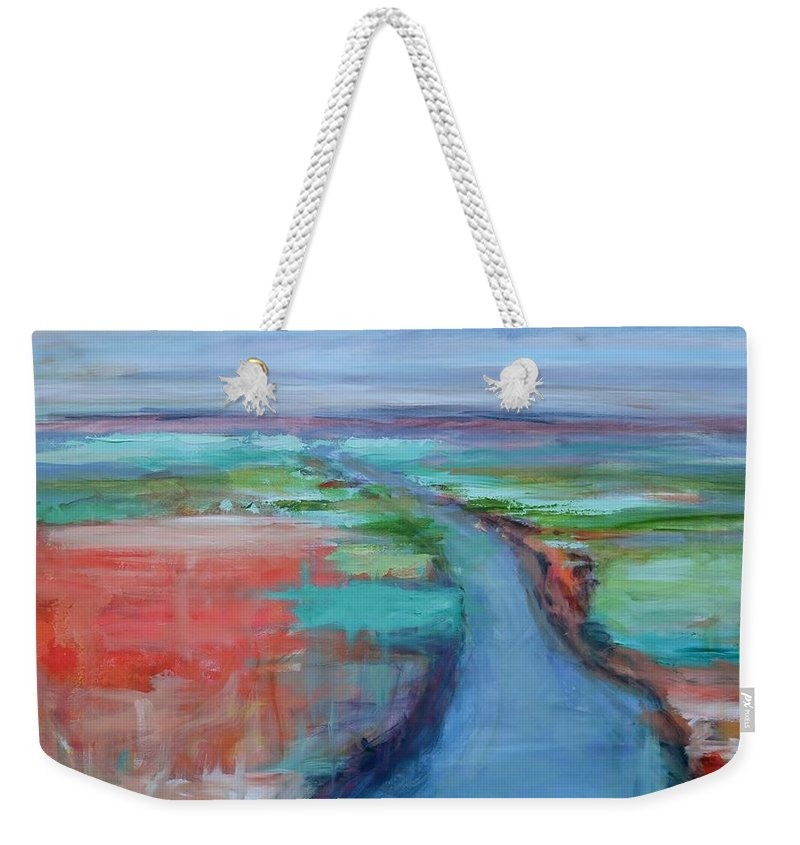 Winding River Weekender Tote Bag featuring the painting Abstract River by Donna Tuten