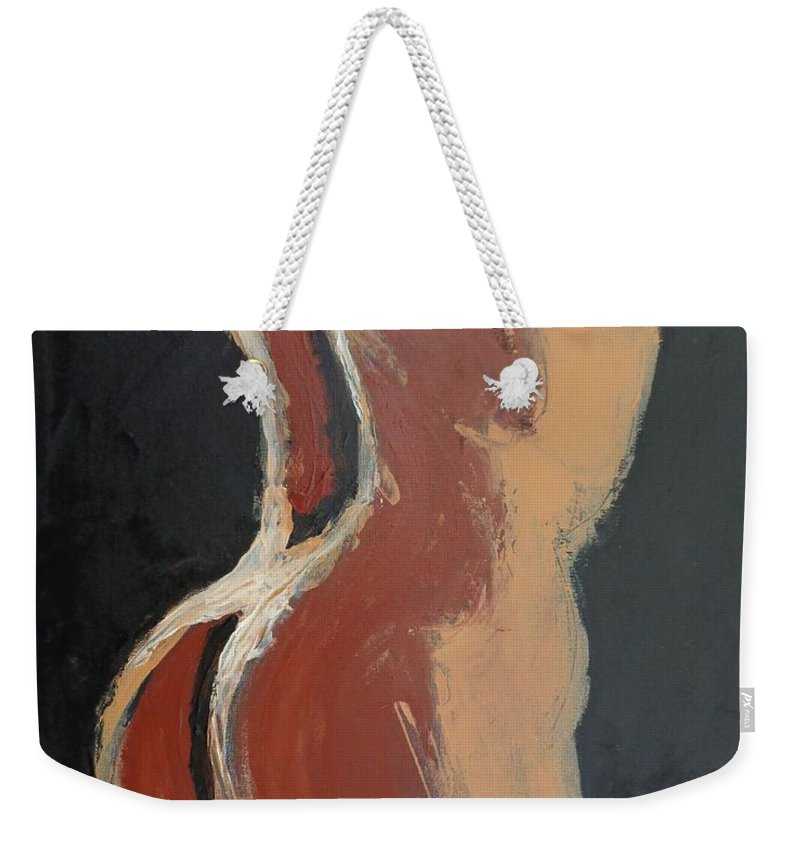 Abstract Weekender Tote Bag featuring the painting Abstract Sienna Torso - Female Nude by Carmen Tyrrell