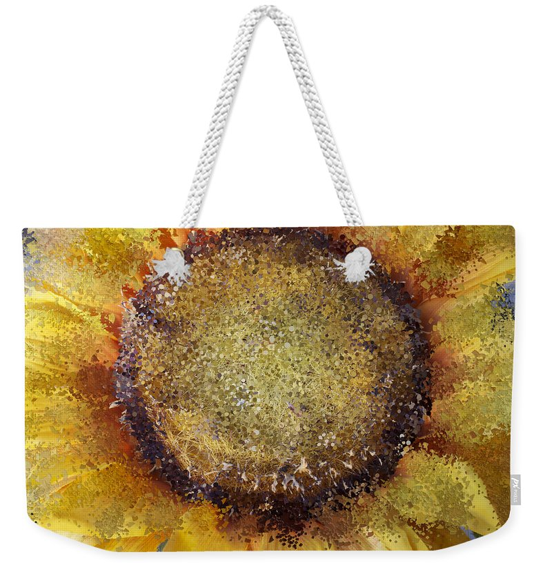 Abstract Weekender Tote Bag featuring the photograph Abstract Sunflower by Alice Gipson