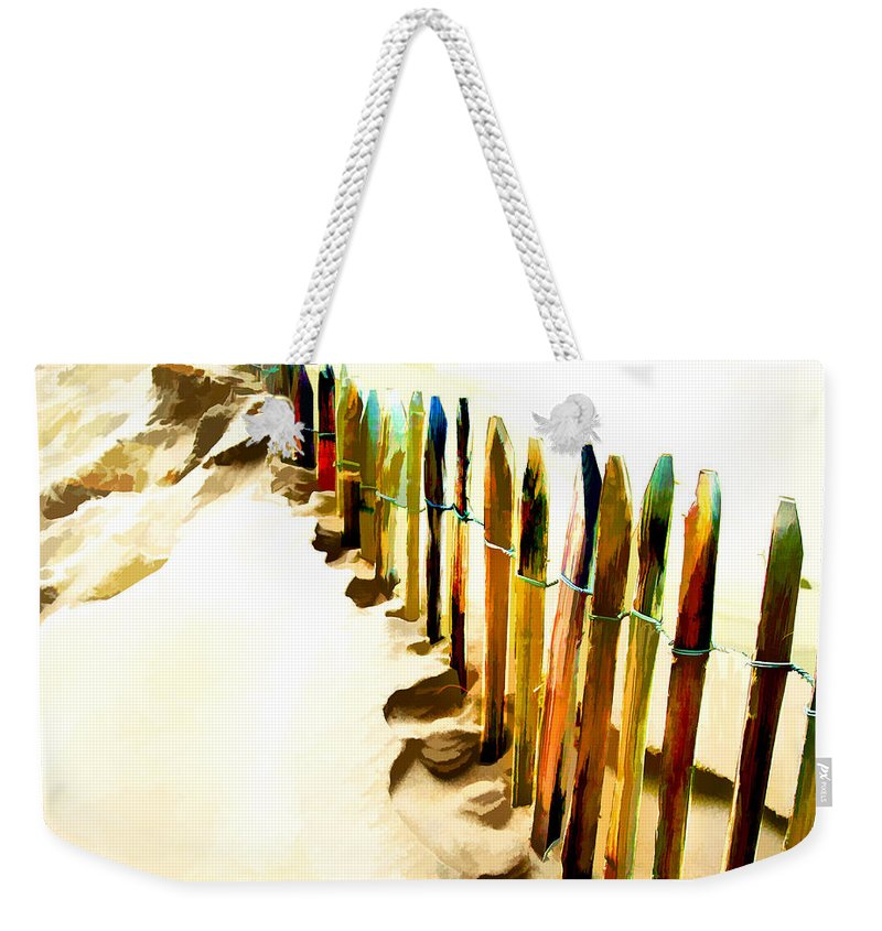 Beach Weekender Tote Bag featuring the painting Abstracted March Of The Colored Dune Fence by Elaine Plesser