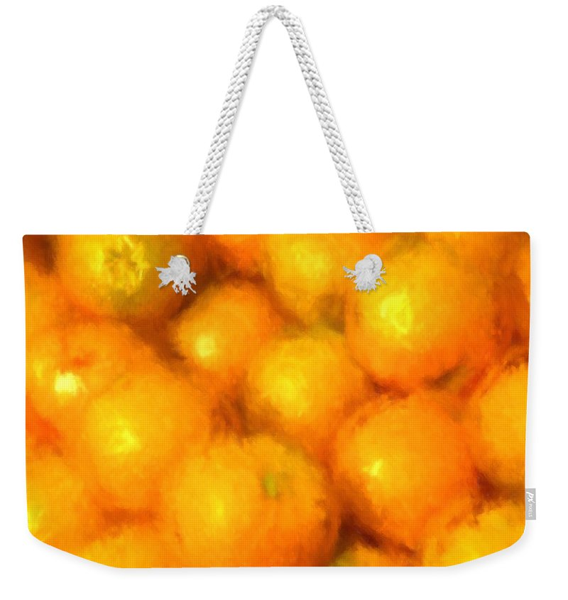 Abstract Weekender Tote Bag featuring the photograph Abstracted Oranges by Alice Gipson
