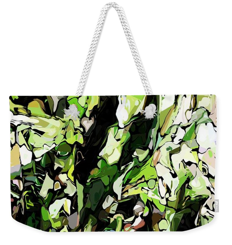 Fine Art Weekender Tote Bag featuring the digital art Abstraction Green And White by David Lane