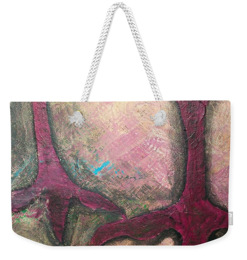 Crow Weekender Tote Bag featuring the painting Abstracty Crows Feet Crop by Laurette Escobar