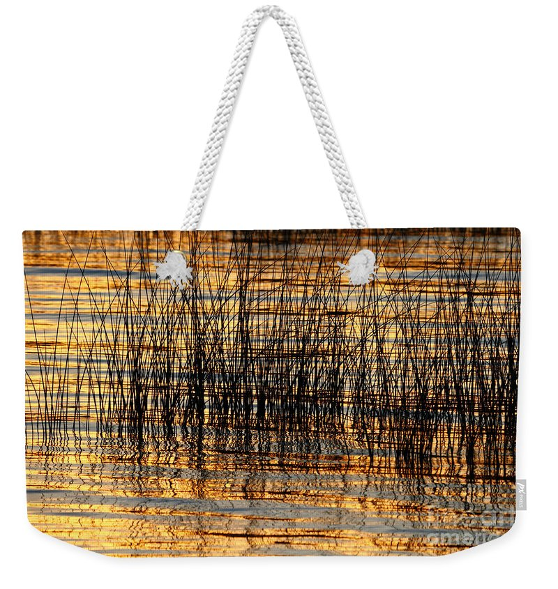 Lake Titicaca Weekender Tote Bag featuring the photograph Abstract Reed And Water Patterns by James Brunker