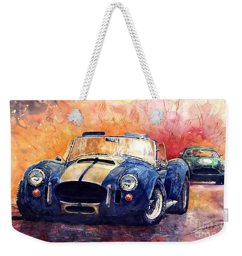 Ac Cobra Weekender Tote Bag featuring the painting Ac Cobra Shelby 427 by Yuriy Shevchuk