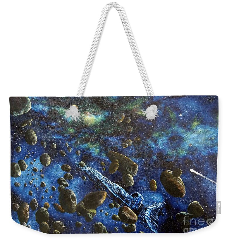 Canvas Weekender Tote Bag featuring the painting Accidental Asteroid by Murphy Elliott