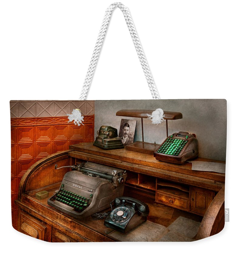 Accountant Weekender Tote Bag featuring the photograph Accountant - Typewriter - The Accountants Office by Mike Savad