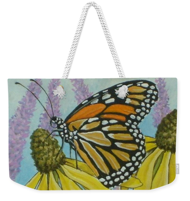 Aceo Weekender Tote Bag featuring the painting Aceo Monarch On Wild Grey Headed Coneflower by Debrah Nelson