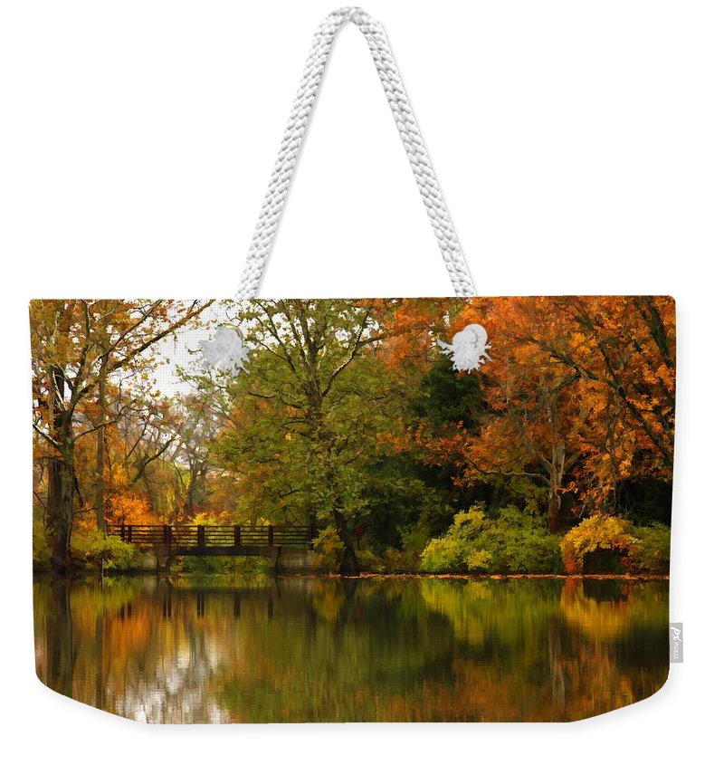 Lake Weekender Tote Bag featuring the photograph Across The Lake by Lyle Hatch