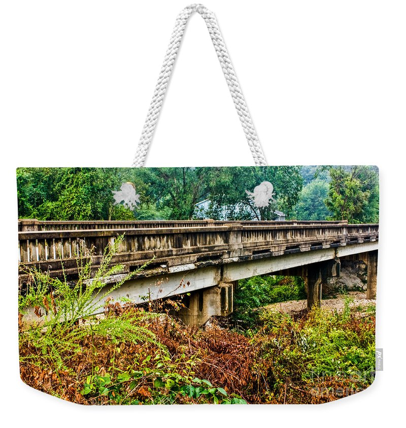 Landscapes Weekender Tote Bag featuring the photograph Across The Old Bridge by Terri Morris