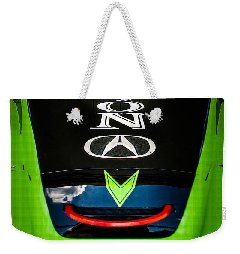 Acura Weekender Tote Bag featuring the photograph Acura Patron Car Hood by Scott Wyatt