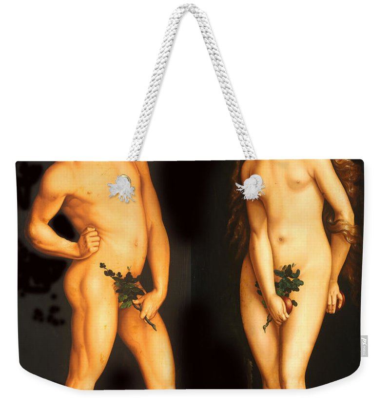 Hans Baldung Weekender Tote Bag featuring the digital art Adam Eve And The Serpent by Hans Baldung