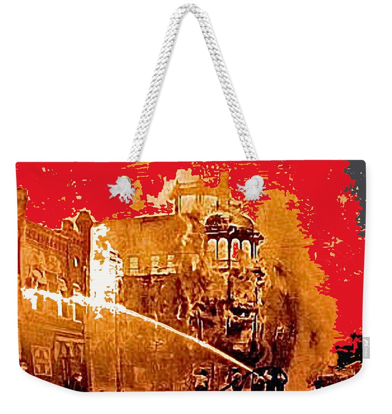 Adams Hotel Fire 1910 Phoenix Arizona Sepia Toned Color Added Weekender Tote Bag featuring the photograph Adams Hotel Fire 1910 Phoenix Arizona 1910-2012 by David Lee Guss