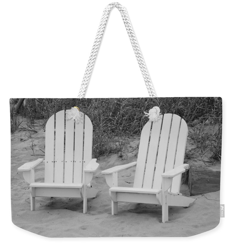 Chairs Weekender Tote Bag featuring the photograph Adirondachairs by Rob Hans